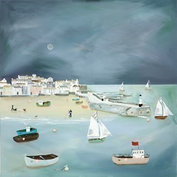 Moonshine Time by Lucy Young -  sized 31x31 inches. Available from Whitewall Galleries